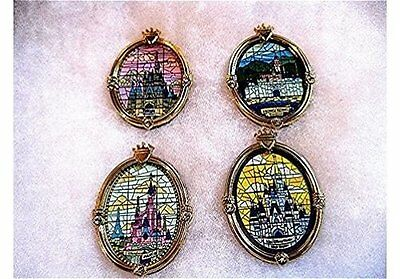 OLD RARE Disney pin Set WDW Cinderella Castle Window Stained Glass Park Castles