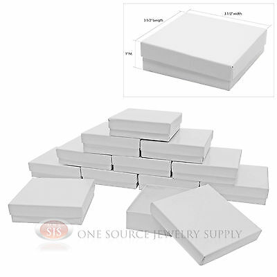 "12 Gloss White Cotton Filled Gift Boxes 3 1/2"" X 3 1/2"" Jewelry Bangle Chain Box"