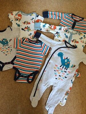 NEXT Baby Boys 3x Dinosaur Sleepsuits Babygrows Matching Vests 3-6 Months Bundle