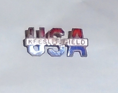 1940s WWII HOMEFRONT KEESLER FIELD old Enamel SWEETHEART pin Jewelry mini badge