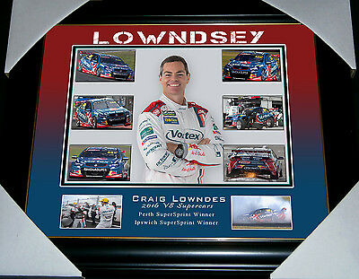 V8 Driver Racer Craig Lowndes Holden Commodore Bathurst Ford Small Print Framed