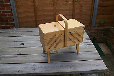 Vintage 3 Tier Folding Sewing Box, Wooden Craft Box Large