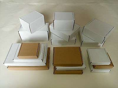 POSTAL CARDBOARD BOXES FOLDING LID SMALL MAILING SHIPPING BOXES White and Brown