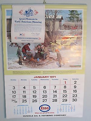 Vintage Esso Calendar 1971 Great Moments In Early American Motoring unused