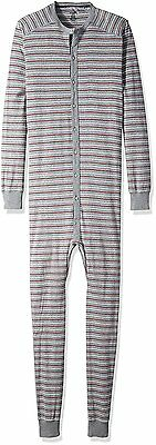 2xist Men's Tartan Union Suit, Heather Grey Yarn Dye, Large