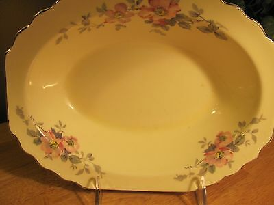 Vtg W S George Lido Canarytone Pink Floral Serving Plate Bowl Scalloped China