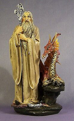 White Wizard and Red Dragon Slight Second Fantasy Figurine 22.5 cm High