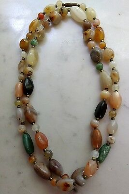 """Natural Polished Stone Nugget Clusters Necklace w Healing Quartz & Jade 36"""" Long"""