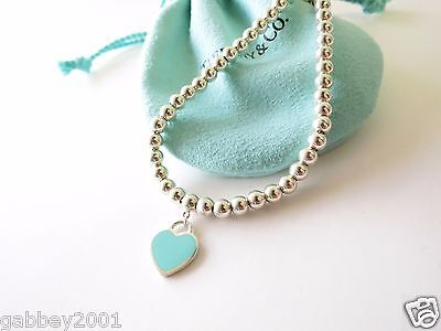 Tiffany & Co Return to Tiffany Silver Blue Enamel Heart Mini Ball Bead Bracelet