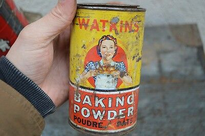 Vintage Paper Label Watkins Baking Powder Spice Tin Can Montreal One Pound Sign