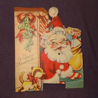 Vintage Santa Claus Christmas Paper Card Kitten Toys Head Moves - Used