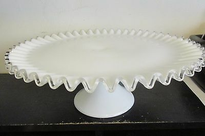 Large Antique Early 20th-Century Czech Ruffle Clear Edge Milk Glass Cake Plate
