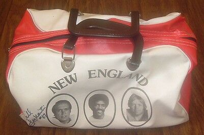Vintage 70's/80's NEW ENGLAND PATRIOTS NFL Sports Bag Signed By BILL LENKAITIS