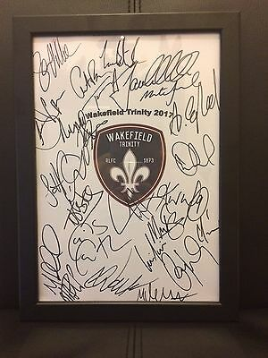 Wakefield Trinity X24 NEW 2017 Hand Signed A4 Framed Autograph Sheet