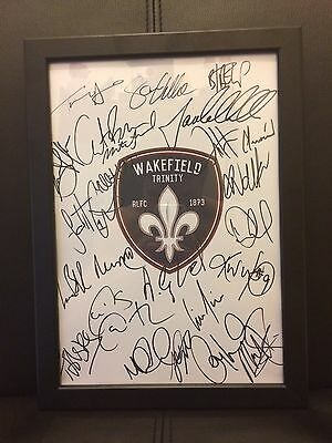 Wakefield Trinity NEW 2017 Hand Signed A4 Framed Autograph Sheet,Super League