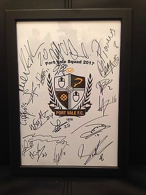 Port Vale FC X20 NEW 2017 Hand Signed Framed A4 Autograph Sheet.