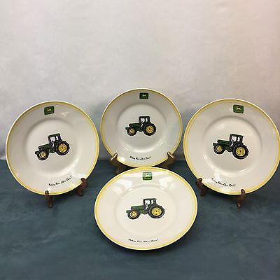 John Deere Tractor Gibson Salad Side Plates Dishes Set of 4 Country Vintage