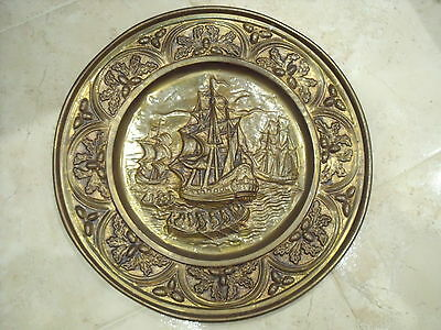 Large Brass Charger or Wall Plaque/Plate with Galleons/Ships & Acorn pattern rim