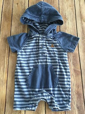 BABY GAP Blue Striped Hooded Romper One Piece Size 0-3 Months (141)