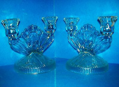 2 Jeanette Iris and Herringbone Crystal Depression Glass Candle Holders