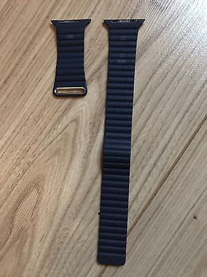 Genuine Apple Midnight Blue Loop Leather Watch Strap 42mm Large Official Originl