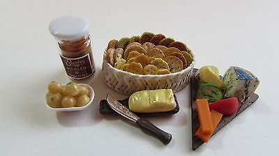 Dolls House 12th Scale Cheese Board Jar of Pickled Onions Biscuits Butter Knife