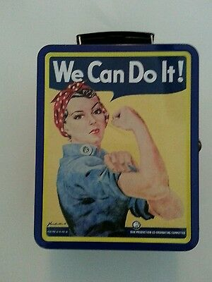 """Collectible Rosie The Riveter Tin Lunch Box """"We Can Do It"""""""
