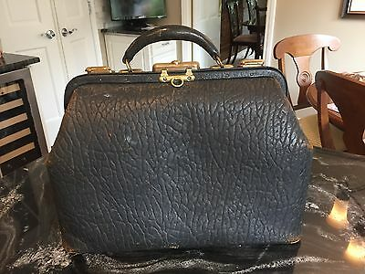 Antique Large Black pebble leather Doctor's Medical Bag/Handbag