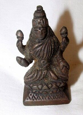 Antique Indian Bronze Seated Hindu Deity On Lotus Statue Figurine  7 Cms High