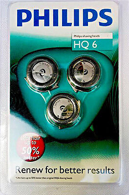 Philips HQ6 Replacement Shaving Heads Electric Razor Shaver Dual Blade Pack of 3