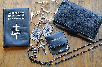 ANTIQUE YOUTH Notre Dame Missal DIALOGUE MASS-ROSARY & CLOTHE SCAPULAR ITALY