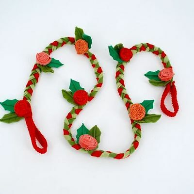 """RED ROSE FLOWER Christmas Garland 60"""" long made of Felt Country Home Decor New"""
