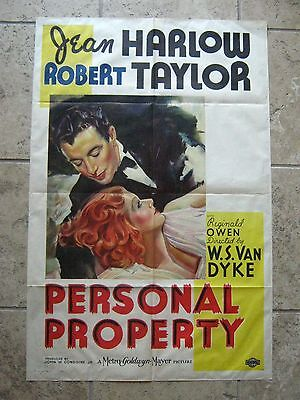 Personal Property '37 Jean Harlow Robert Taylor Unrestored Vf Mgm 1Sh
