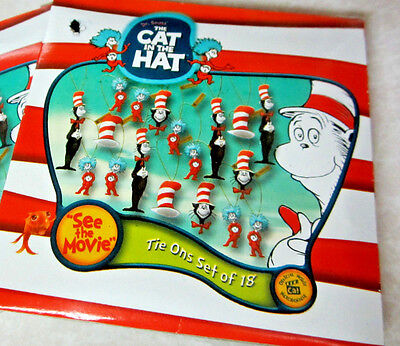 "THE CAT IN THE HAT~ DR.SEUSS"" 1 Pack of 18 Miniature Ornaments DECORATIONS NIB"