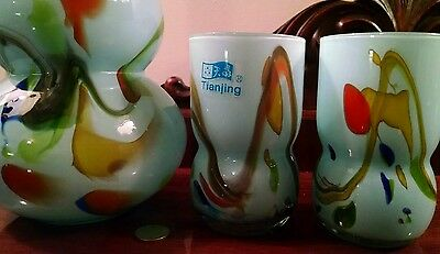 Art Glass Wine Decanter & Tumblers Barware Cocktail Set Sake 6 Cup Teal TIANJING