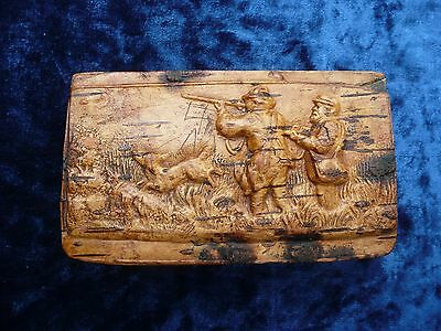 Antique Victorian Pressed Birch Snuffbox  Table Snuff Box ,huntsman With Dog