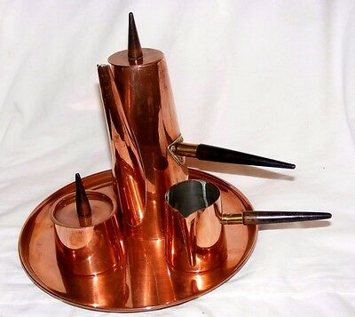 Vintage Copral Copper Chocolate Mocha Coffee Pot Set Christopher Dresser Style