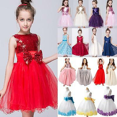 Kids Girls Princess Dress Flower Sleeveless Formal Party Wedding Bridesmaid Prom
