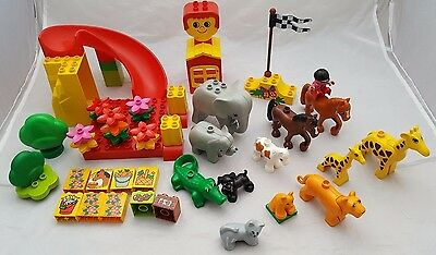 Lego Duplo Bundle Of Animals, Trees, Flowers, Slide And More. Mixed Sets