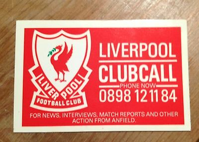 OLD 1980s LIVERPOOL FOOTBALL CLUBCALL PROMOTIONAL CARD