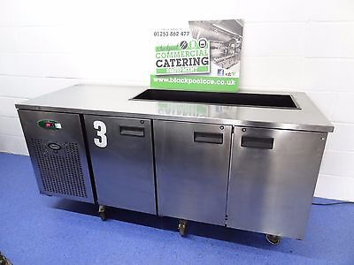 Foster Epro 1/3H 3 Door Counter Stainless Steel Prep Fridge Saladette Cut Out