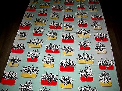 Vintage 50s 60s pale green plants in bright planters cotton fabric / curtain