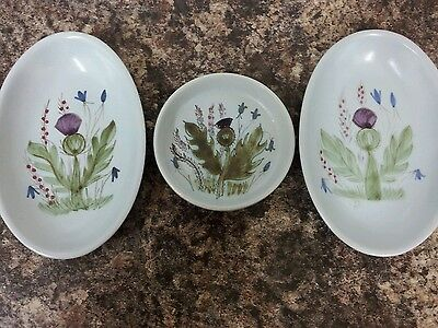 Buchan Pottery Scottish Stoneware Dishes 2 Oval 1 Round Thistle Pattern