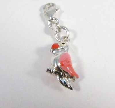 925 Solid Sterling Silver Enamel Clip On Parrot Charm
