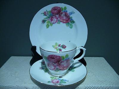 Duchess Bone China Pink Full Blown Roses & Forget Me Nots Trio - England - Gc