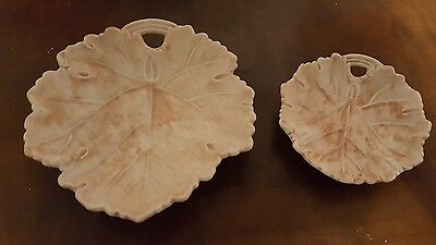 Hancock's Ivory & Corona Ware Hand painted Leaf Dishes