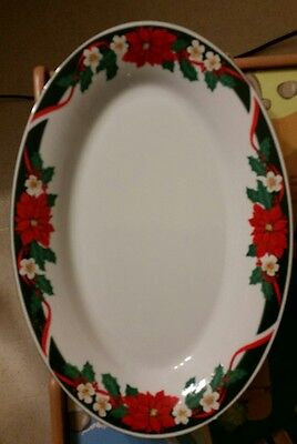 """Tienshan """"Deck The Halls"""" 14-1/2 Inch Platter & 9 inch Serving Bowl Exc Cond"""
