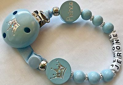 ♕ ♕ PERSONALISED Your Name Choice ♕ DOUBLE PRINCE ♕ Dummy Clip ♕ BABY BLUE ♕ ♕