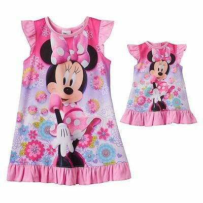 Minnie Mouse Toddler Girl Dorm Nightgown & Doll Dress Set Disney Junior Size 4T