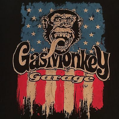 black GAS MONKEY GARAGE t shirt - HOT RODS MUSCLE CARS  - looks UNUSED - (2XL)